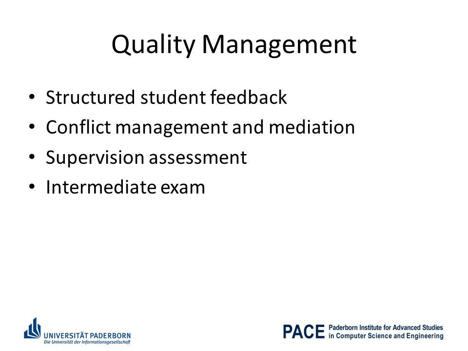 Quality Management Structured student feedback
