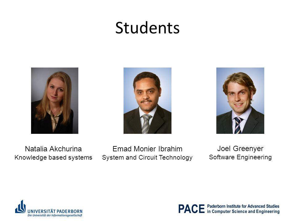 Students Natalia Akchurina Emad Monier Ibrahim Joel Greenyer