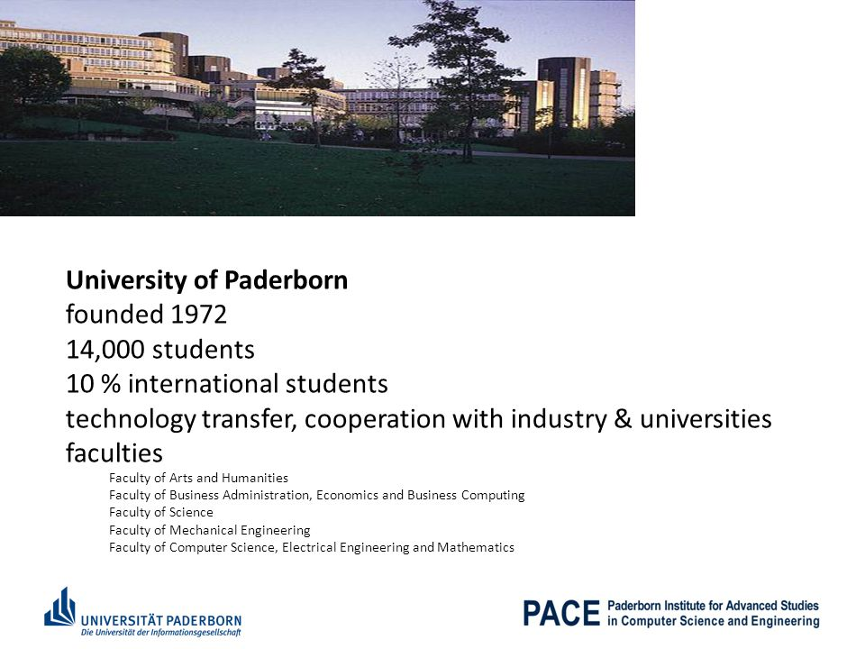University of Paderborn founded 1972 14,000 students