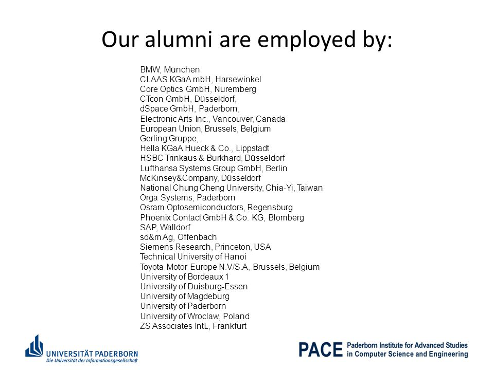 Our alumni are employed by: