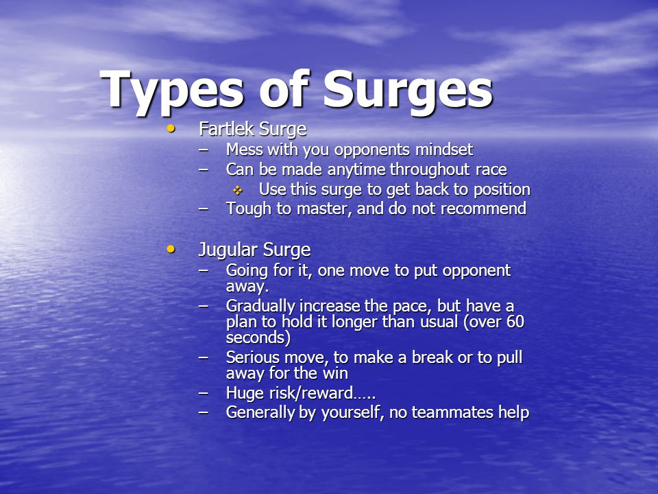 Types of Surges Fartlek Surge Jugular Surge