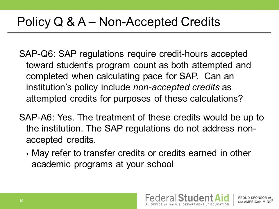 Policy Q & A – Non-Accepted Credits