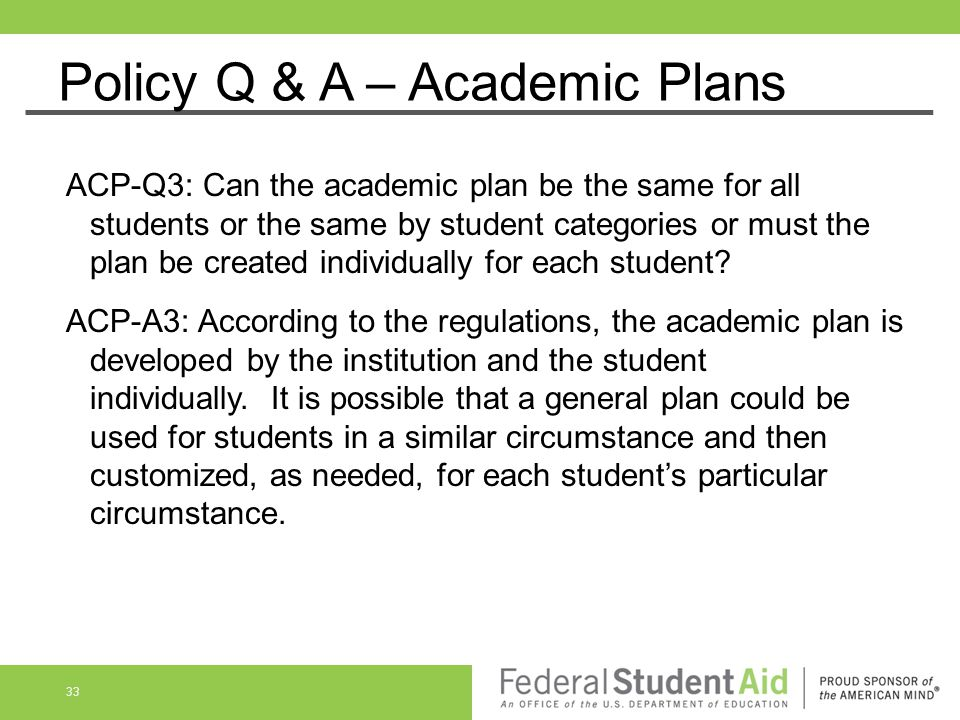 Policy Q & A – Academic Plans