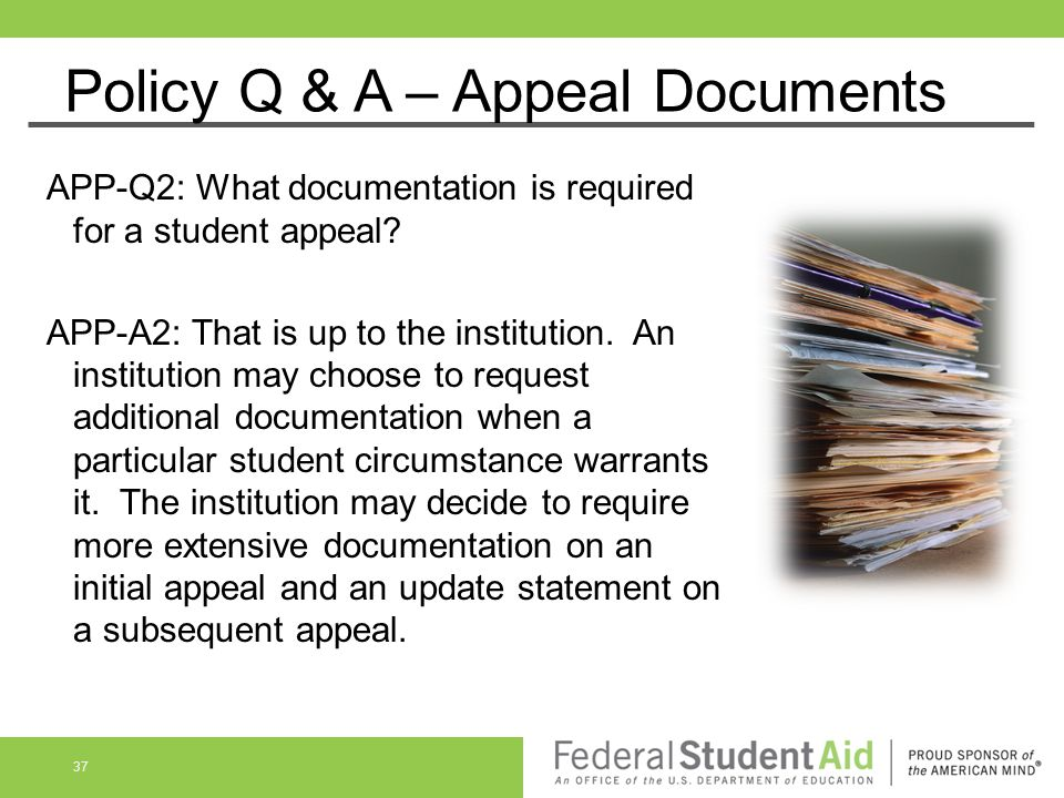 Policy Q & A – Appeal Documents
