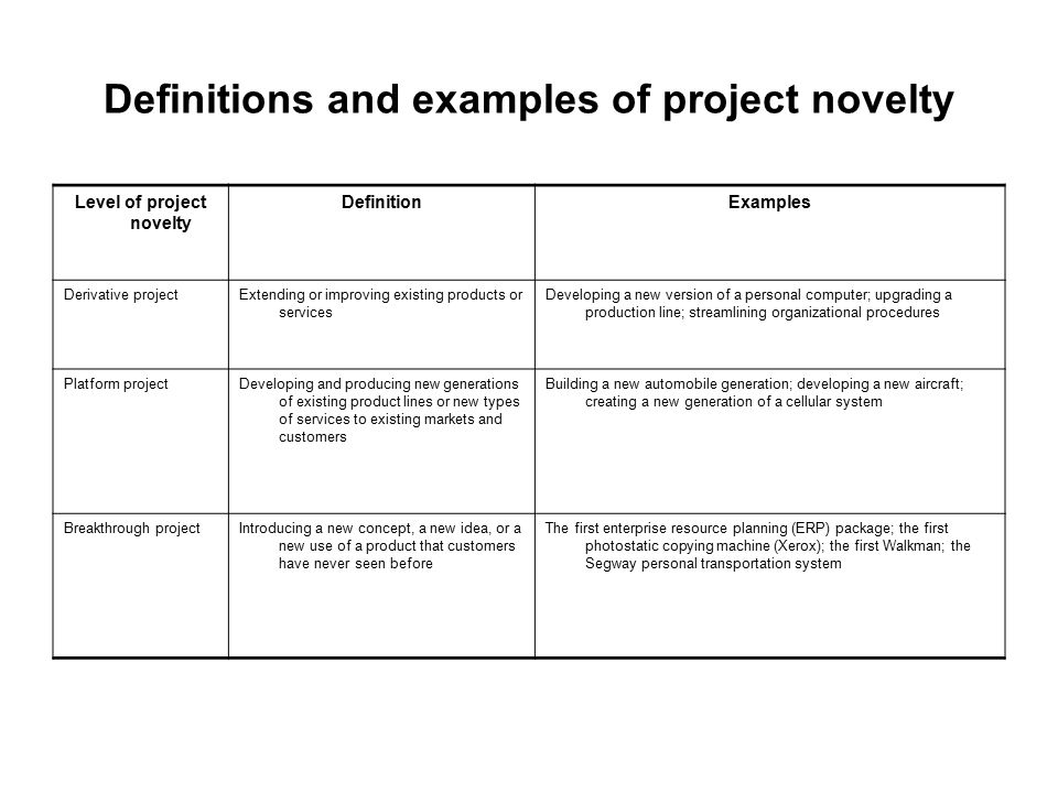 Definitions and examples of project novelty