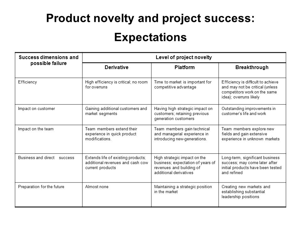 Product novelty and project success: Expectations