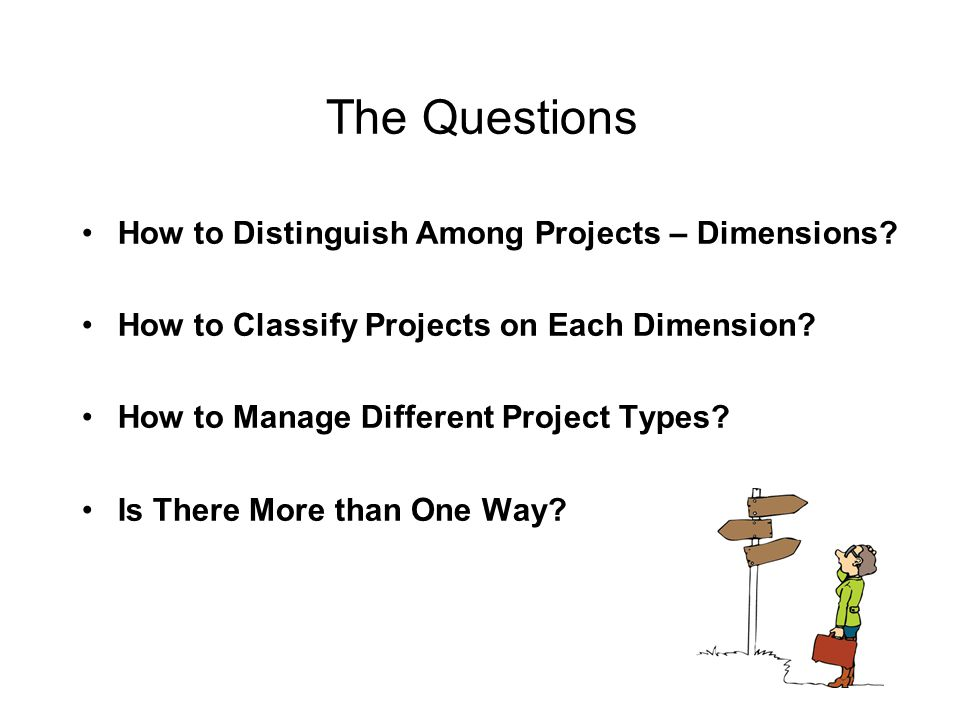 The Questions How to Distinguish Among Projects – Dimensions