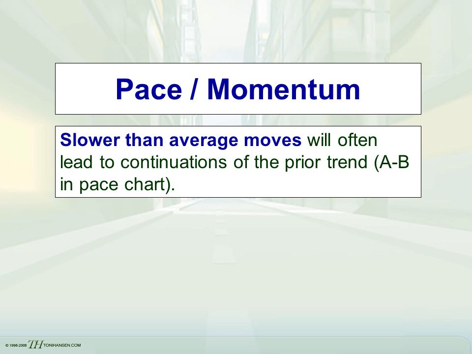 Pace / Momentum Slower than average moves will often lead to continuations of the prior trend (A-B in pace chart).