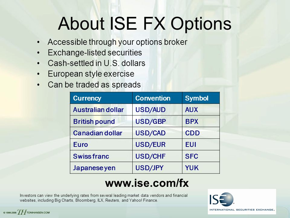 About ISE FX Options www.ise.com/fx