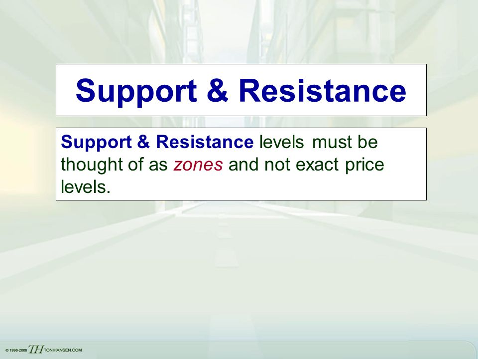 Support & Resistance Support & Resistance levels must be thought of as zones and not exact price levels.