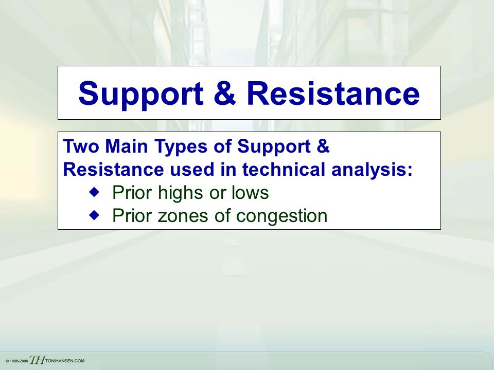 Support & Resistance Two Main Types of Support & Resistance used in technical analysis: Prior highs or lows.