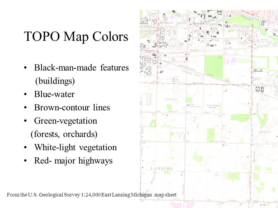 TOPO Map Colors Black-man-made features (buildings) Blue-water