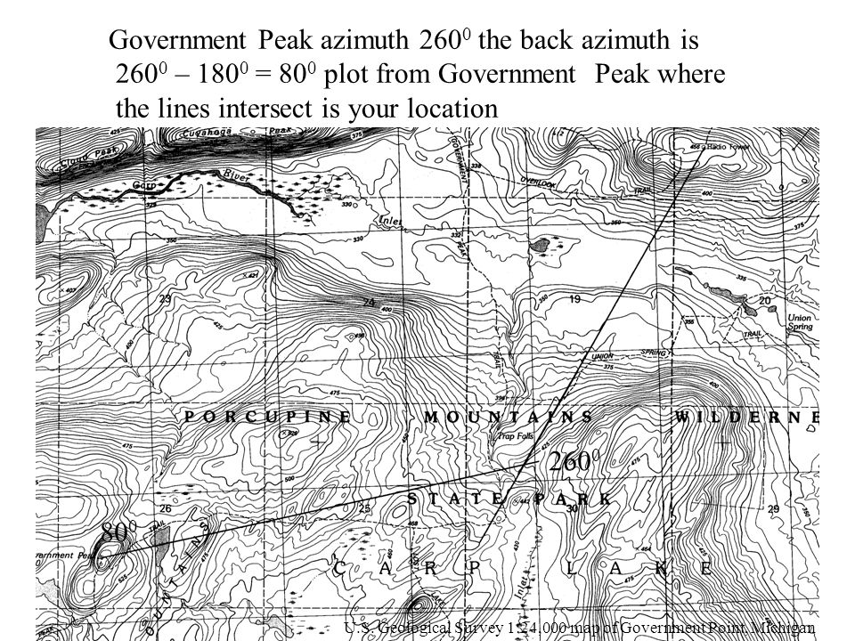 Government Peak azimuth 2600 the back azimuth is
