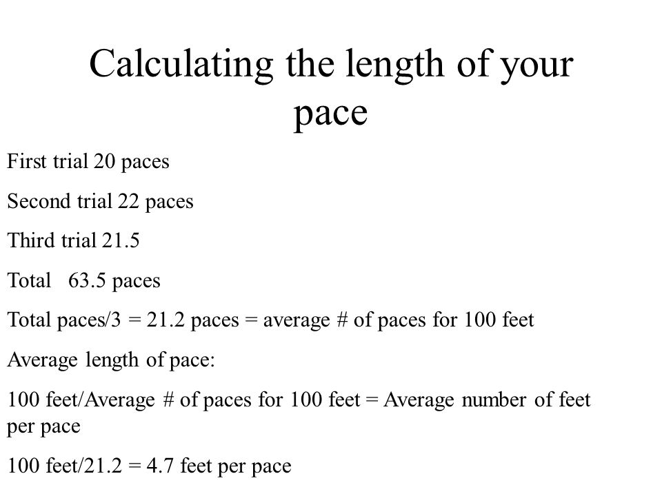 Calculating the length of your pace
