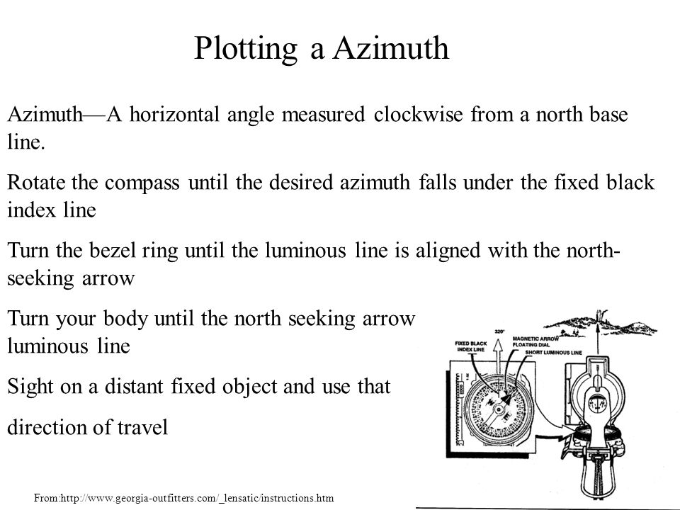 Azimuth—A horizontal angle measured clockwise from a north base line.