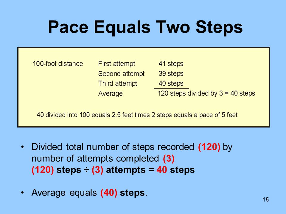 Pace Equals Two Steps Divided total number of steps recorded (120) by number of attempts completed (3) (120) steps ÷ (3) attempts = 40 steps.