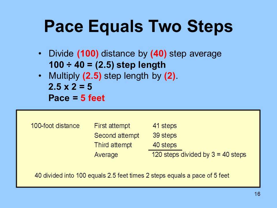 Pace Equals Two Steps Divide (100) distance by (40) step average 100 ÷ 40 = (2.5) step length. Multiply (2.5) step length by (2).