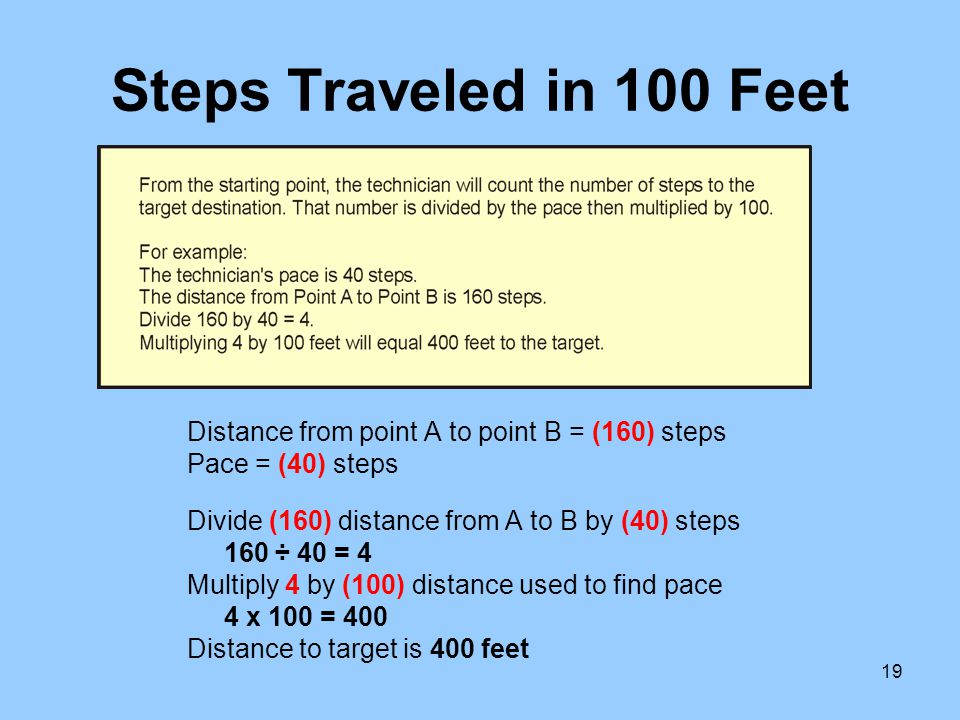 Steps Traveled in 100 Feet Distance from point A to point B = (160) steps. Pace = (40) steps. Divide (160) distance from A to B by (40) steps.