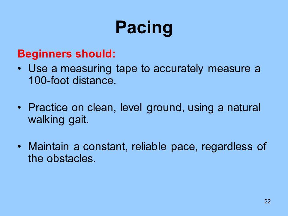 Pacing Beginners should: