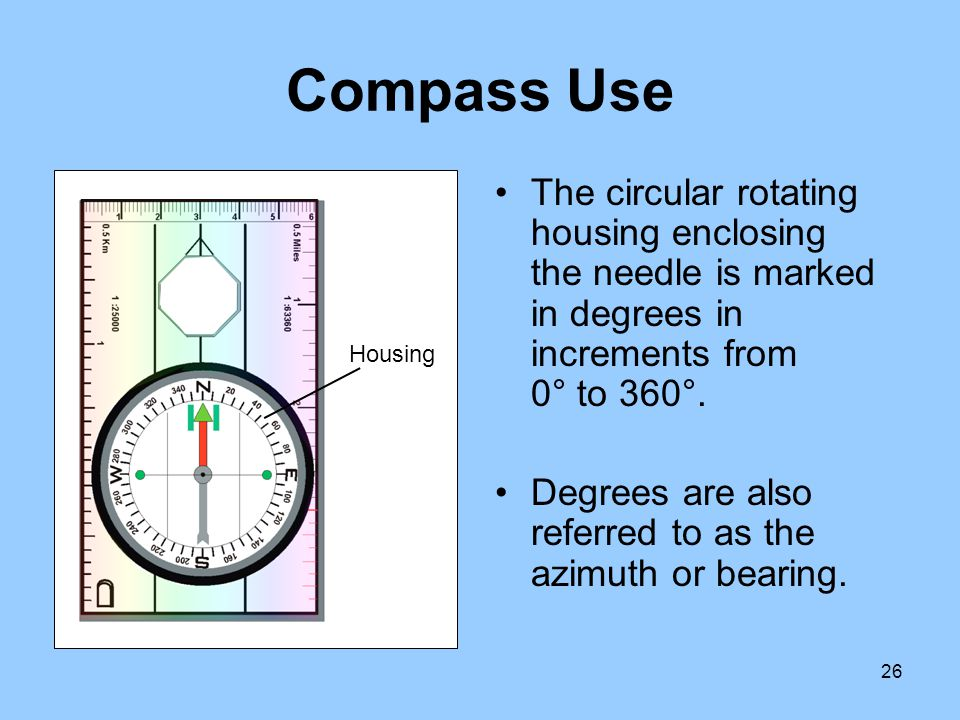 Compass Use The circular rotating housing enclosing the needle is marked in degrees in increments from 0° to 360°.