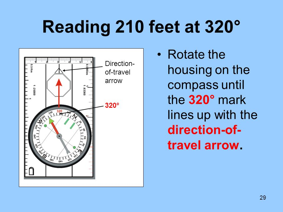 Reading 210 feet at 320° Rotate the housing on the compass until the 320° mark lines up with the direction-of-travel arrow.