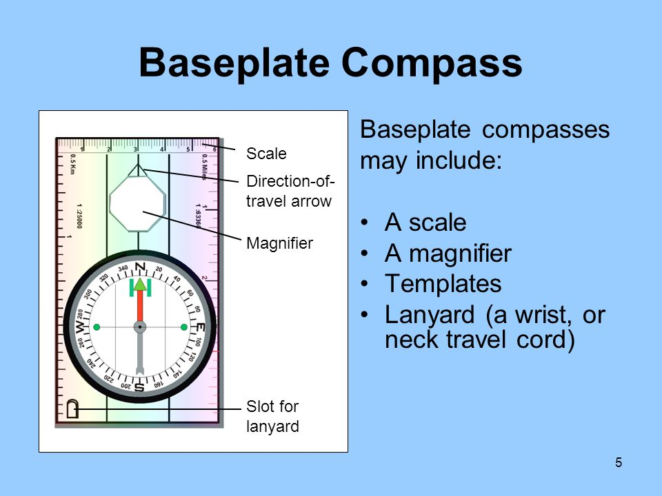 Baseplate Compass Baseplate compasses may include: A scale A magnifier