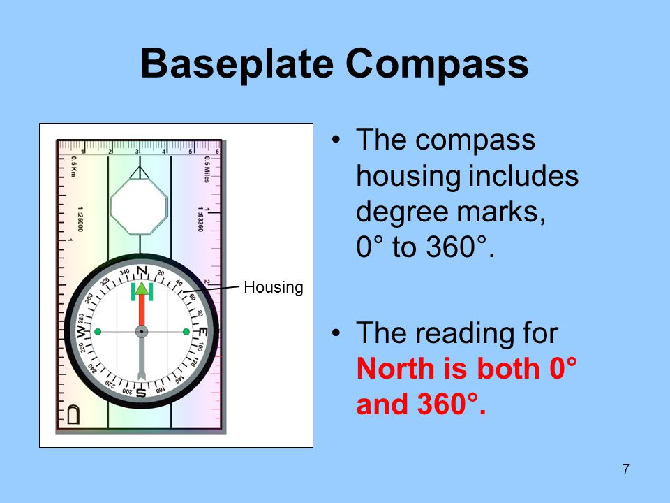 Baseplate Compass The compass housing includes degree marks, 0° to 360°. The reading for North is both 0° and 360°.