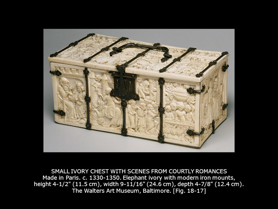 SMALL IVORY CHEST WITH SCENES FROM COURTLY ROMANCES Made in Paris. c