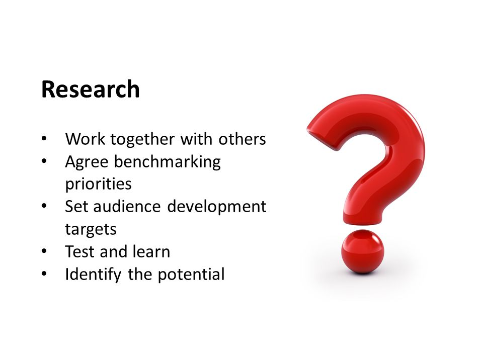 Research Work together with others Agree benchmarking priorities