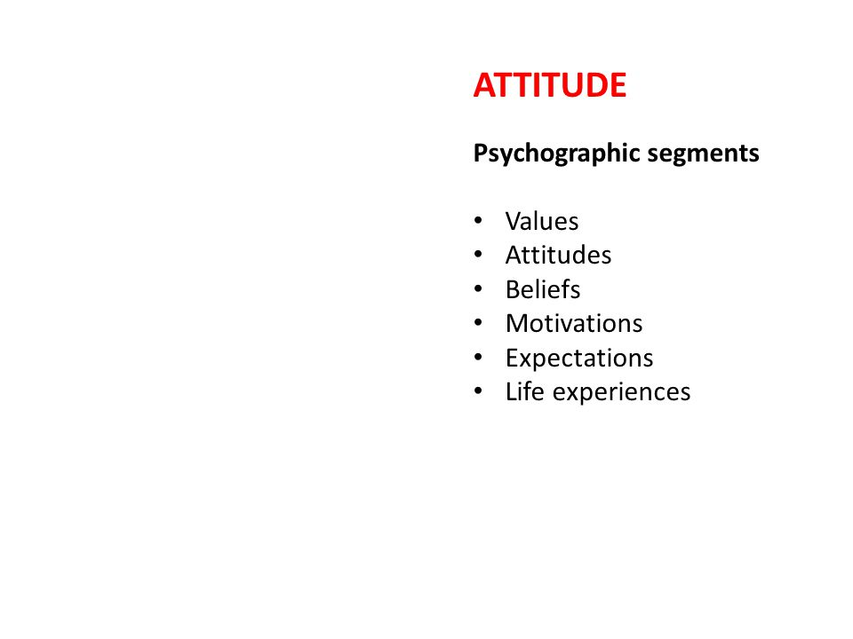 ATTITUDE Psychographic segments Values Attitudes Beliefs Motivations