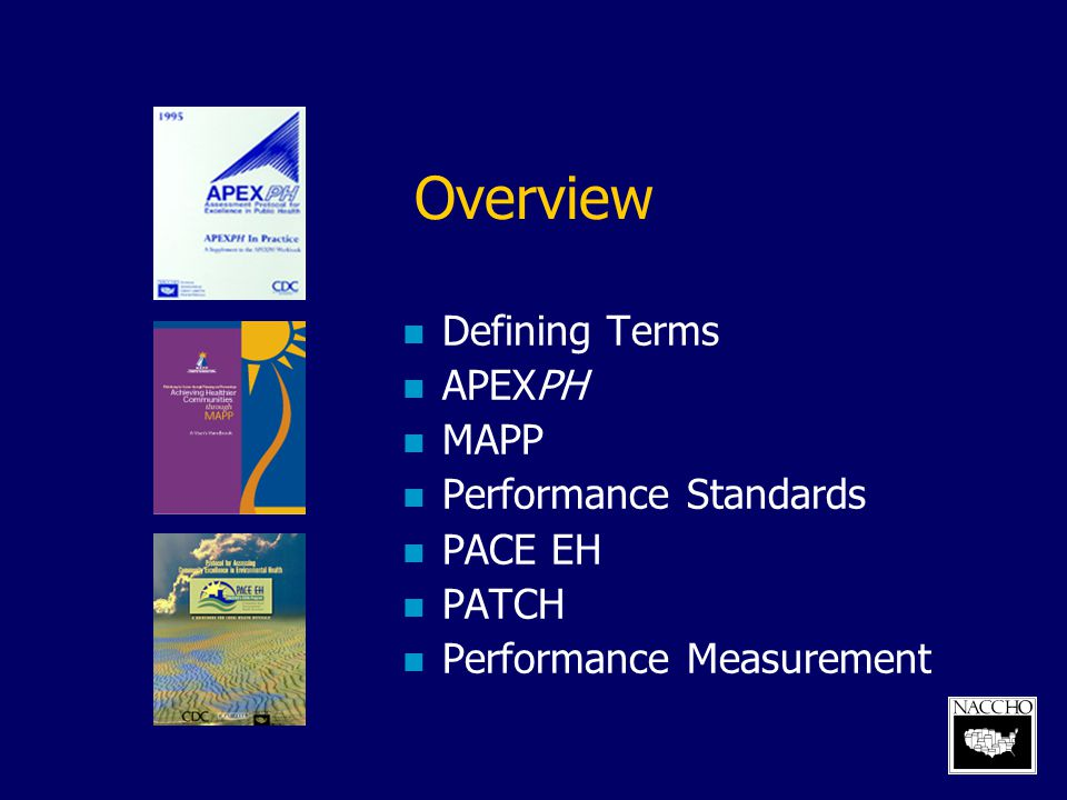 Overview Defining Terms APEXPH MAPP Performance Standards PACE EH