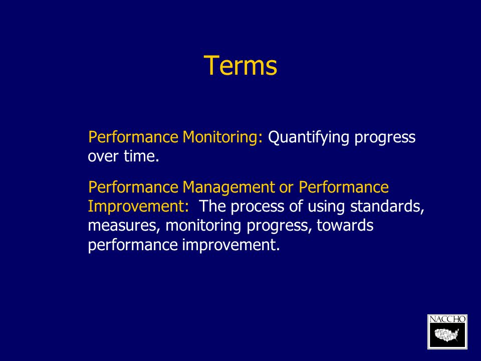 Terms Performance Monitoring: Quantifying progress over time.