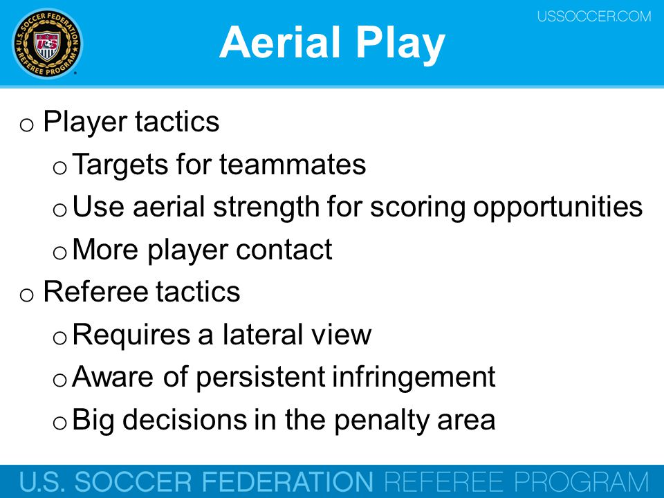 Aerial Play Player tactics Targets for teammates