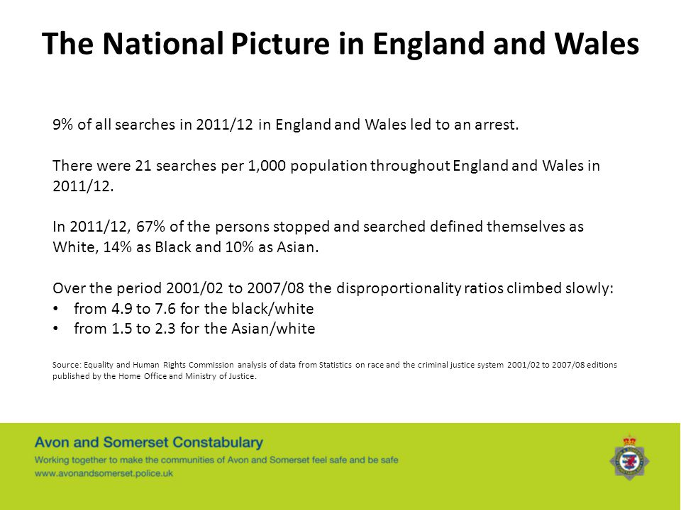 The National Picture in England and Wales