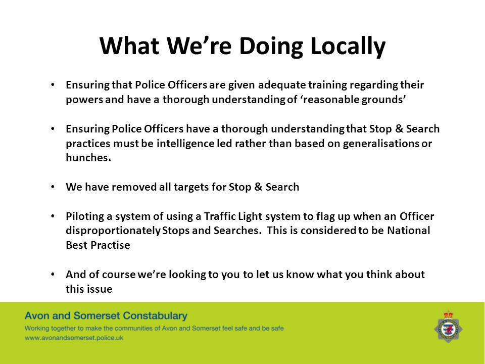 What We're Doing Locally