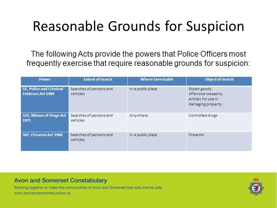 Reasonable Grounds for Suspicion