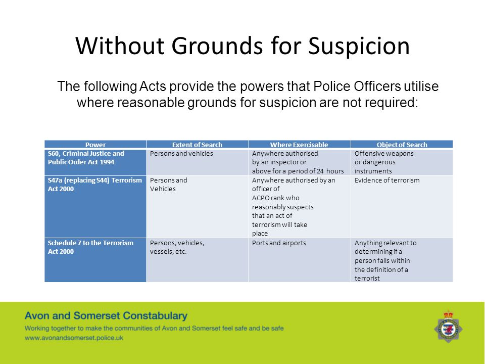 Without Grounds for Suspicion