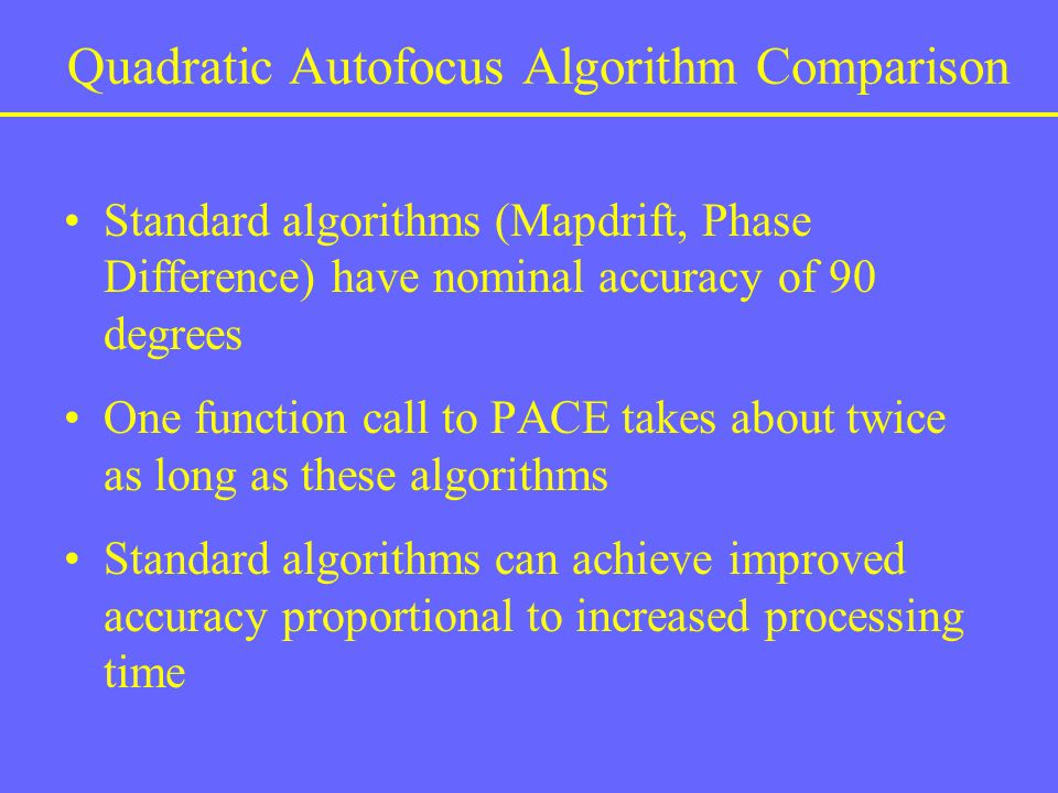 Quadratic Autofocus Algorithm Comparison