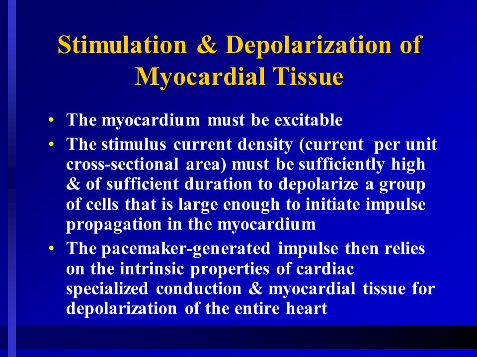 Stimulation & Depolarization of Myocardial Tissue