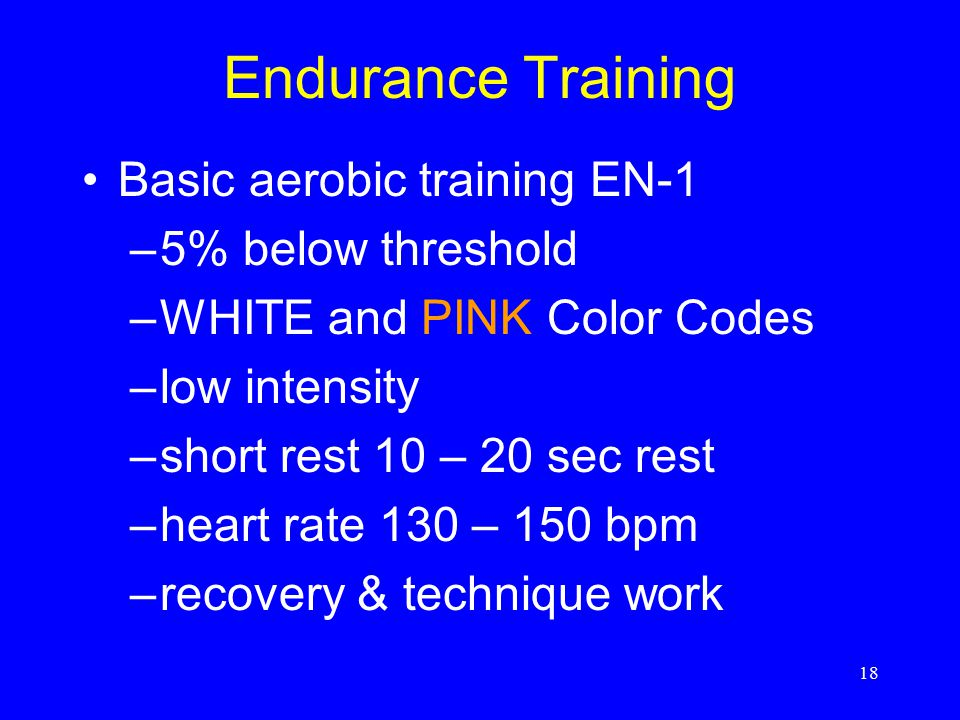 Endurance Training Basic aerobic training EN-1 5% below threshold