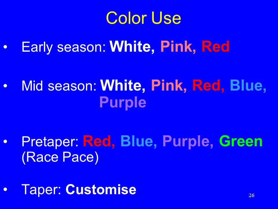 Color Use Early season: White, Pink, Red