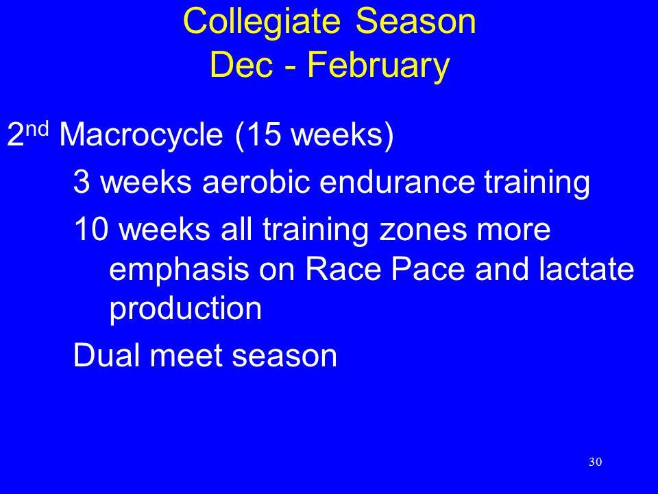 Collegiate Season Dec - February