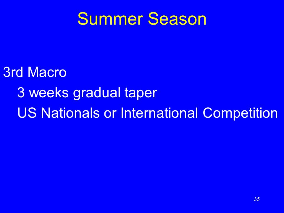Summer Season 3rd Macro 3 weeks gradual taper
