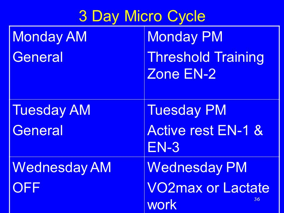 3 Day Micro Cycle Monday AM General Monday PM