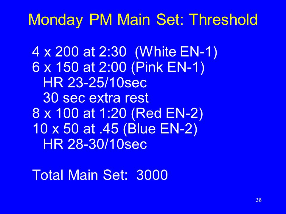 Monday PM Main Set: Threshold