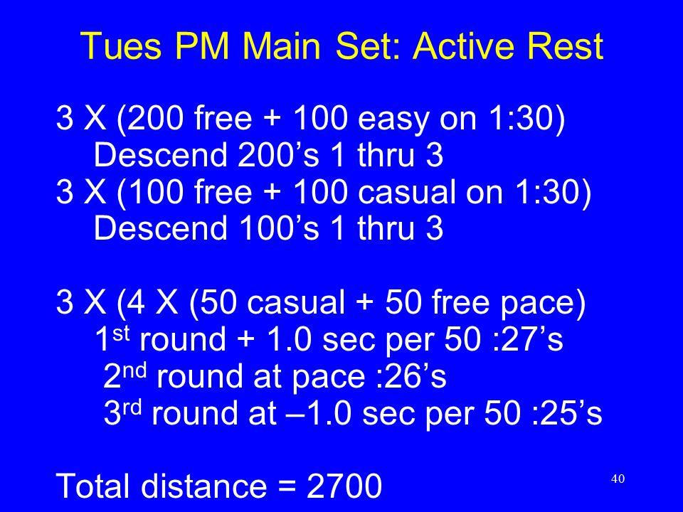 Tues PM Main Set: Active Rest