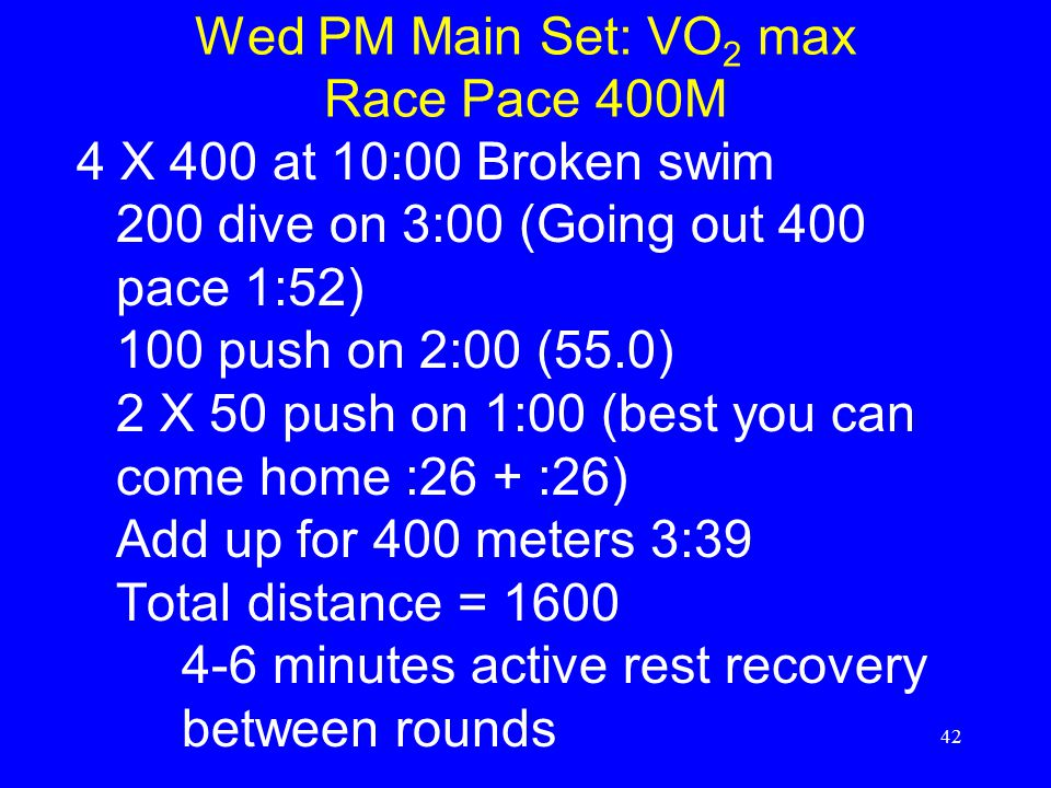 Wed PM Main Set: VO2 max Race Pace 400M