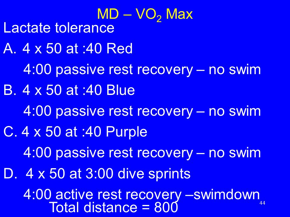 MD – VO2 Max Lactate tolerance. 4 x 50 at :40 Red. 4:00 passive rest recovery – no swim. 4 x 50 at :40 Blue.