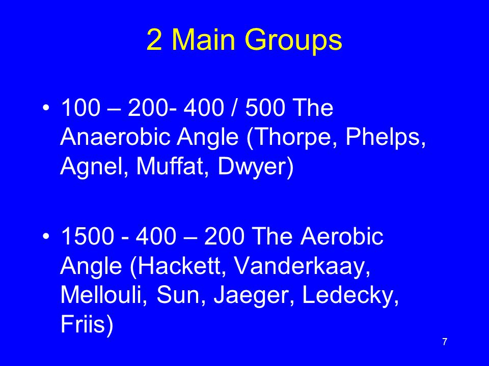 2 Main Groups 100 – 200- 400 / 500 The Anaerobic Angle (Thorpe, Phelps, Agnel, Muffat, Dwyer)