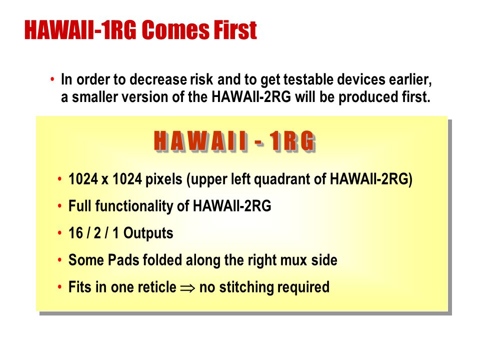 HAWAII-1RG Comes First H A W A I I - 1 R G